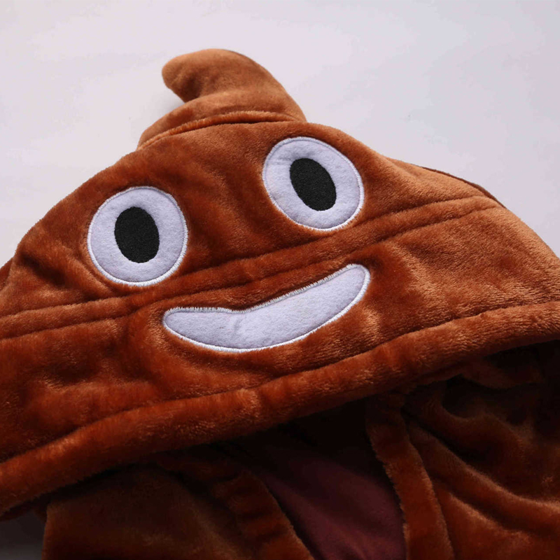 Amusing Brown Poop Kigurumi Soft Flannel One-Piece Pajamas For Warm Halloween Onesie For Adults Cosplay Party Costume Sleepwear (6)