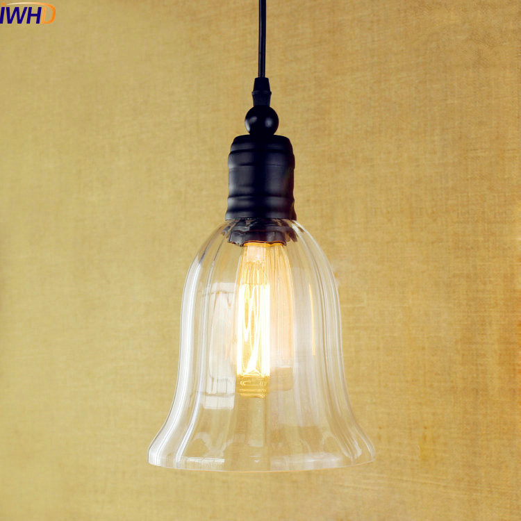 IWHD Glass Style Loft Industrial Lighting Fixtures Lampe Vintage Lamp Edison LED Pendant Lighs Lamparas Hanging Lamp loft industrial rust ceramics hanging lamp vintage pendant lamp cafe bar edison retro iron lighting