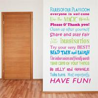 Colorful PVC Quote Wall Stickers Playroom Rules Home Decoration Living Room Bedroom Wall Stickers Home