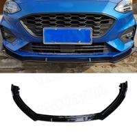3 PCS/Set Front Lip Spoiler Apron For Ford Focus 2019+ ABS Carbon Look Black Head Bumper Chin Shovel Guard Car Styling
