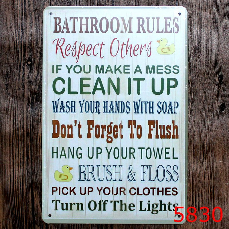 30x20cm bathroom rules letter vintage home decor tin sign for wall decor metal sign vintage art - Metal Signs Home Decor