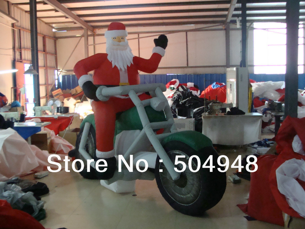 Christmas Inflatable Santa On Harley inflatable cartoon customized advertising giant christmas inflatable santa claus for christmas outdoor decoration