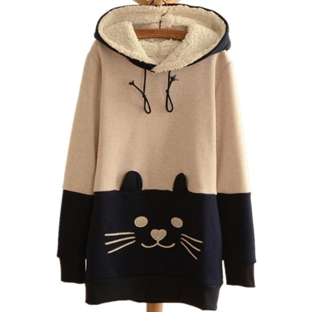 Japanese Harajuku Hoodies Cute Cat Kawaii Women SweatShirts Anime Women  Hooded Coat Jacket Neko Atsume Cute Cat Face Hoodies fd5b319a5b