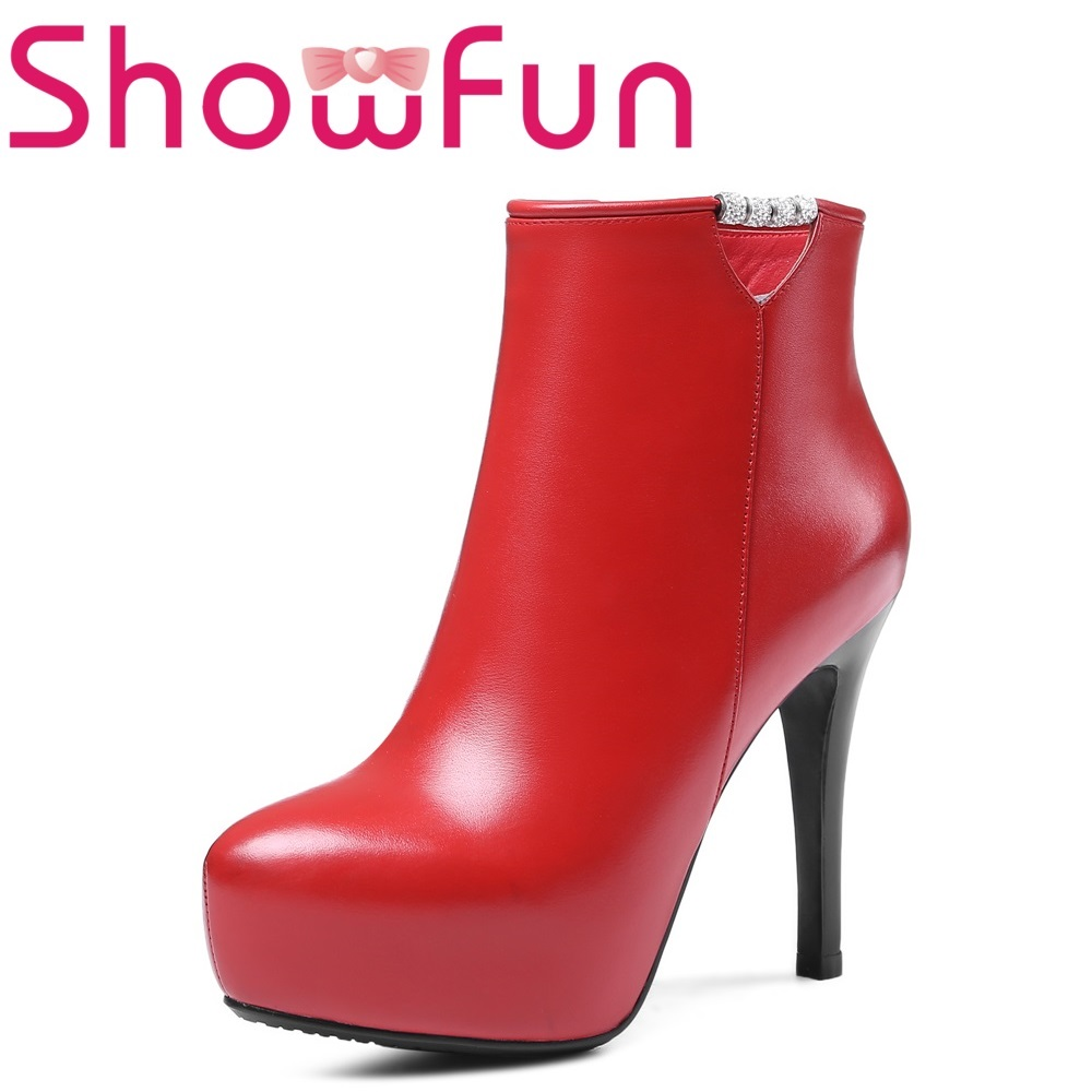 Showfun genuine leather shoes woman winter solid ankle pointed toe zipper super high thin heel boots джеймс фенимор купер последний из могикан