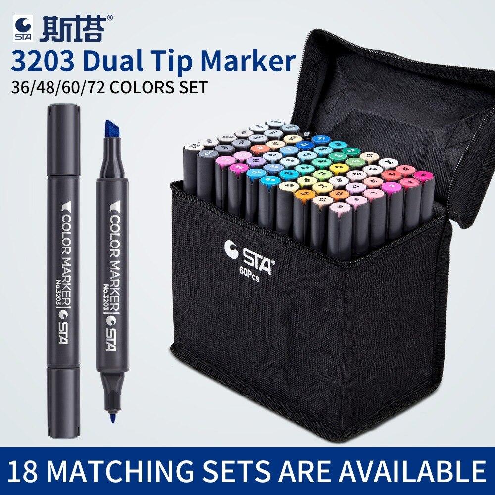 Conjunto Marcador Esboço Artista Dirigido Dobro 36 STA/48/60/72 Cores Oleosa À Base de Álcool Arte Mangá marcadores para o Projeto Suprimentos