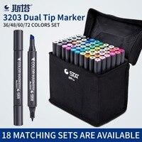 Marcador de esboço de cabeça dupla do artista do sta ajustado 36/48/60/72 cores o álcool oleoso baseou marcadores da arte do mangá para fontes do design|art markers|design art markers|design markers -