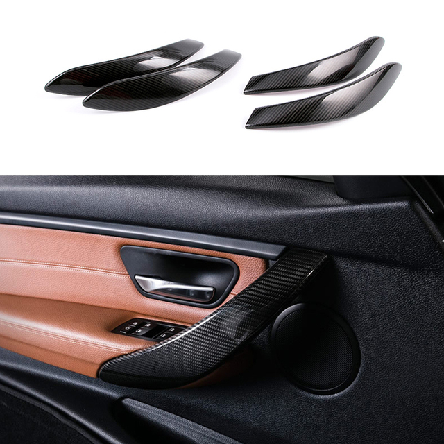 4x Real Carbon Fiber Inner Door Handle Cover Trim For BMW 3 Series F30 F31  GT