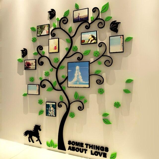 3d acrylique arbre g n alogique stickers muraux avec cadre photo salon vert wall art decal. Black Bedroom Furniture Sets. Home Design Ideas