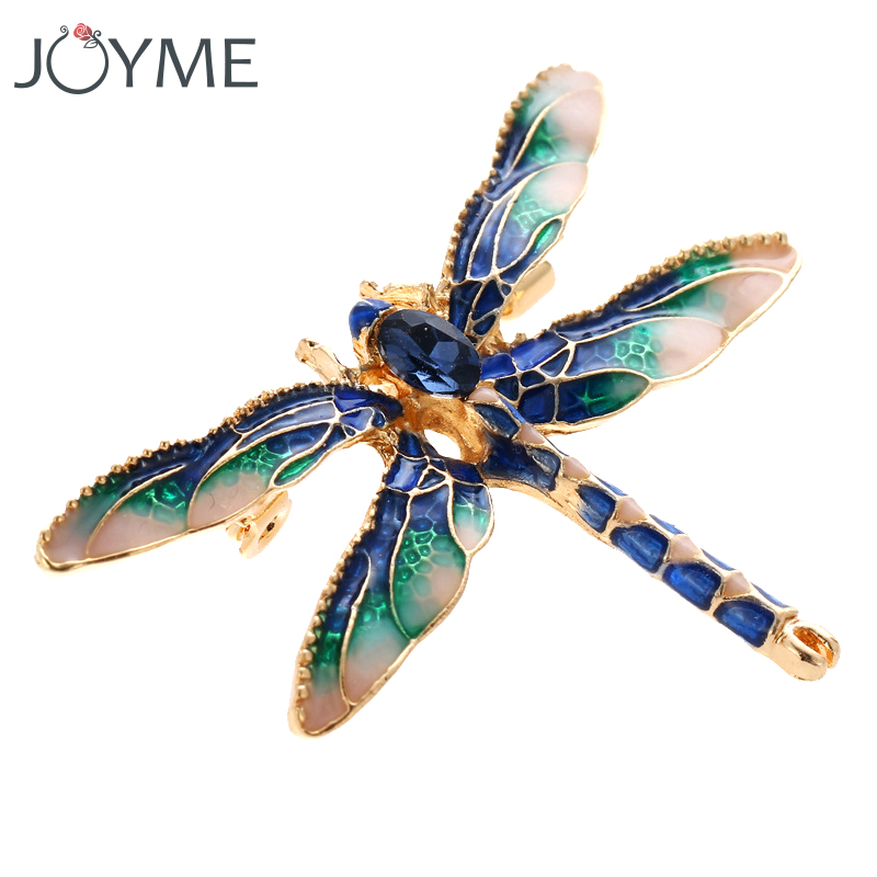 Wedding & Engagement Jewelry Reasonable Stunning Blue Green Rhinestone And Enamel Dragonfly Gold Tone Brooch