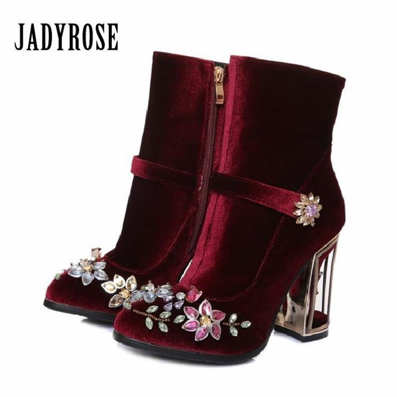Jady Rose Wine Red Velvet Ankle Boots for Women Retro Birdcage High Heel Boots Rhinestone Decor Botas Mujer Ladies High Boots retro black velvet strip cross decorative anklet for women
