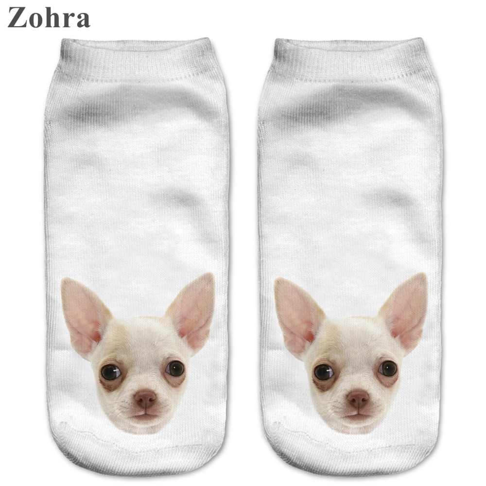 Zohra Fashion Funny Dogs 3D Printing font b Sock b font Women s Low Cut Ankle