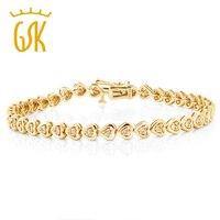 GemStoneKing 925 Sterling Silver Yellow Gold Plated Heart Shape Women S Diamond Bracelet Fits Up 7