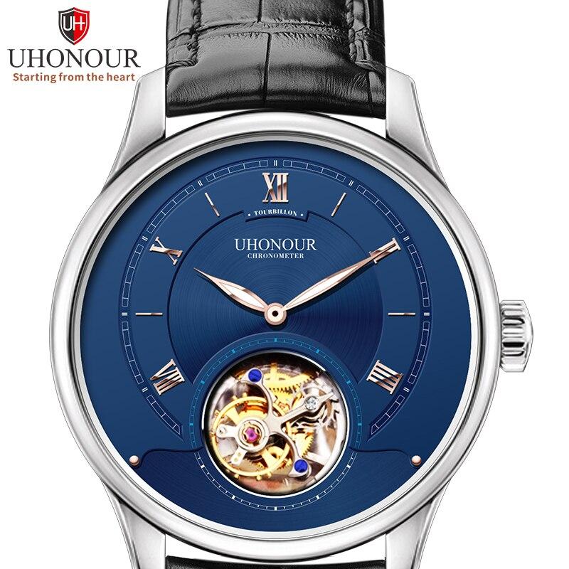 UHONOUR wskaźnik świetlny mężczyźni mechaniczne zegarki na rękę mewa ST8000 ruch Tourbillon godzina zegar zegarek męski Montre homme w Zegarki sportowe od Zegarki na  Grupa 1