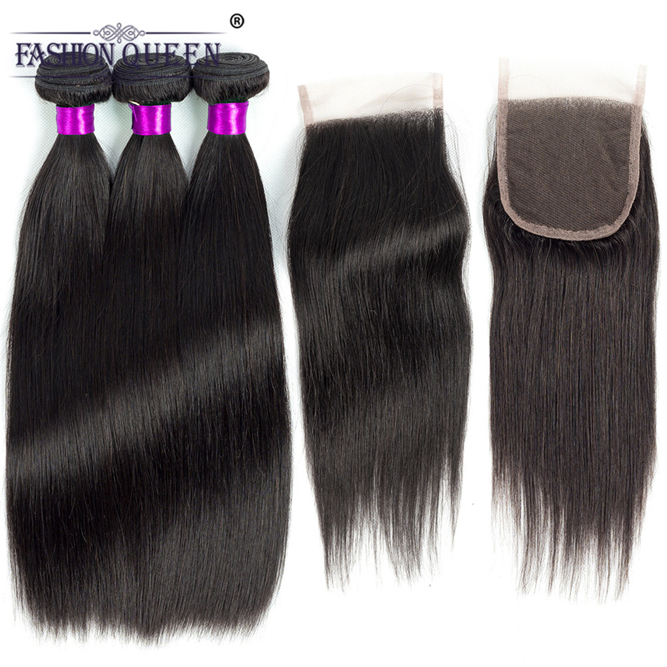 Fashion Queen 3 Bundles Brazilian Straight Hair Weave Bundles with Closure Remy Human Hair Bundles with 4*4 Lace Closure