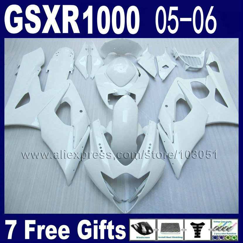 Injection molding custom bodywork for 2005 suzuki  gsxr 1000 fairings K5 2006 kits 05 06 all white motorcycle fairing kits custom injection molded motorcycle fairings kits for suzuki 2005 k5 black silver 2006 gsxr1000 05 gsxr 1000 06 fairing kit