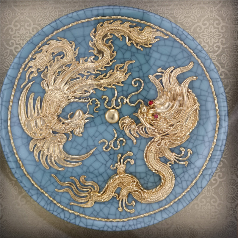 24k Gold decorative plates 10inch dragon phoenix gold-plated Ge Kiln porcelain plate Chinese art Handicrafts for wedding gift(China)