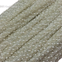 3Yards=2.7Meters Pearl Beaded Embroidered Rhinestones Applique Braided Lace Ribbon Trim For Wedding Dress 5-119