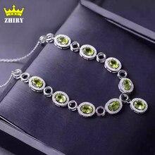 Естественный Зеленый Хризолит Ожерелье Подлинной Стерлингового Серебра 925 Полудрагоценных Камней Камень