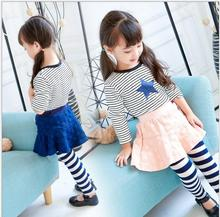 Girls All-match Striped Leggings Children's Point Wave Skirtpants  2017 Spring Autumn Sweet Princess Toddler Pants EX87