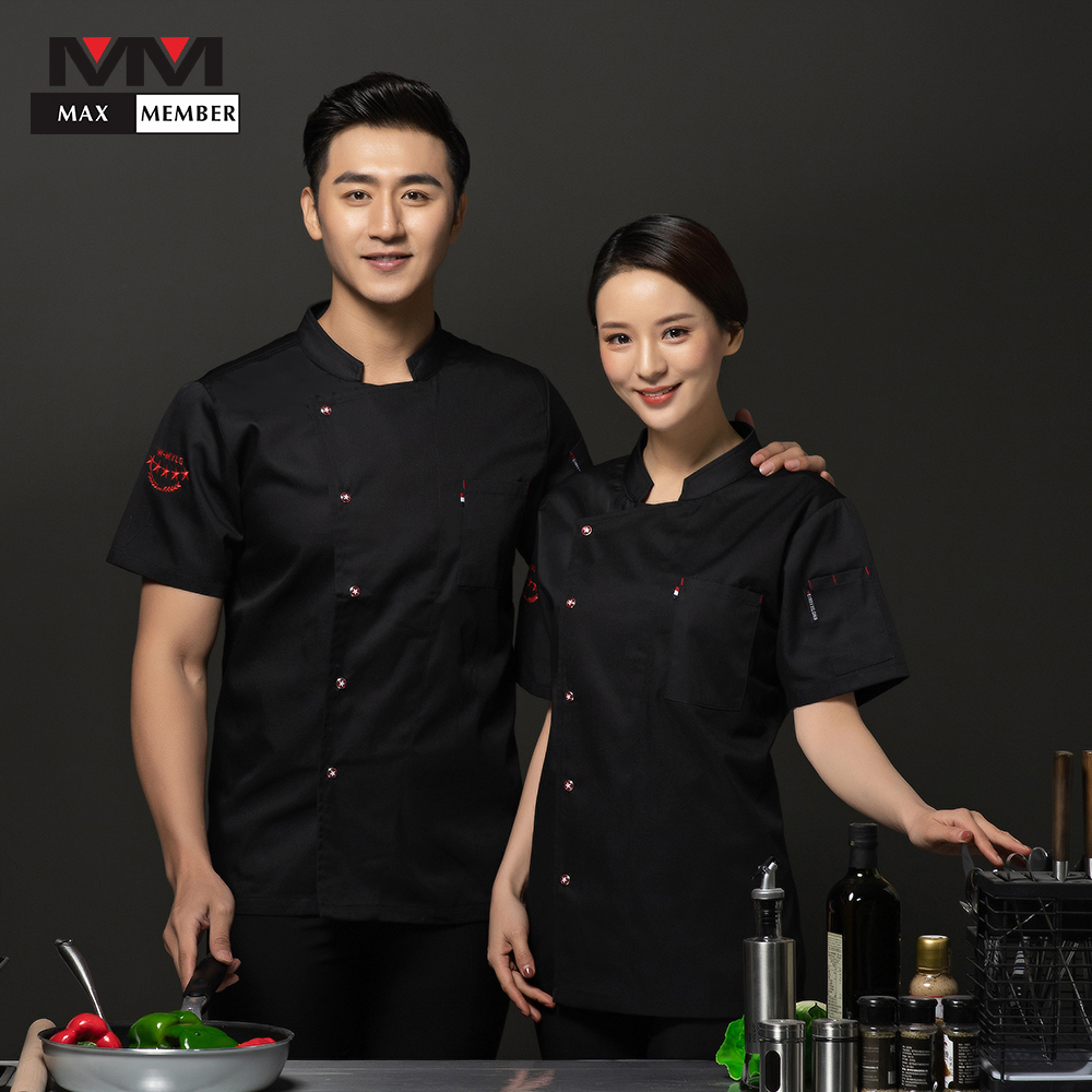 Chef Jacket Kochjacke Catering Short Sleeve Embroidered Stars Cook Pub Coffee Waiter Waitress Cafe Bakery Summer Work Clothes