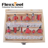 12PCS 1 4 6 35mm Shank Tungsten Carbide Wood Router Bit Set Woodworking Cutter Trimming Knife
