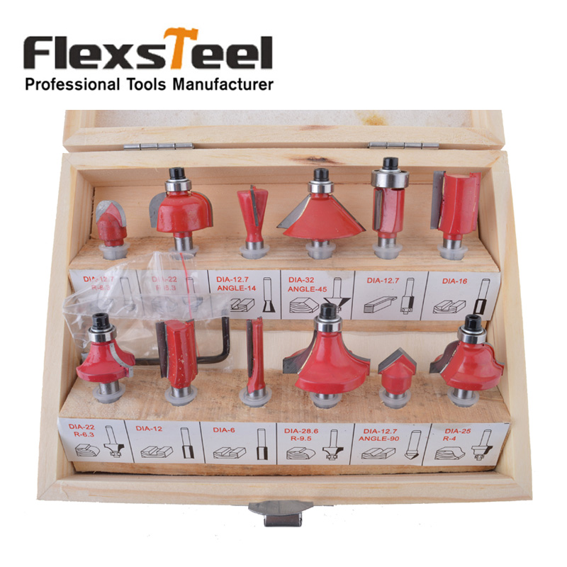 12PCS 1/4(6.35mm) Shank Tungsten Carbide Wood Router Bit Set Woodworking Cutter Trimming Knife Forming Milling In Wooden Box [15 pcs router bit set] woodworking milling cutters for wood router trimmer machine free shipping yg8 carbide wooden box