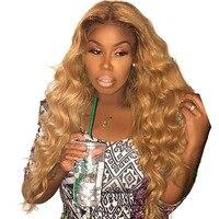 #27 Мёд блондинка Синтетические волосы на кружеве парики красочные 250% плотность человеческих волос парики свободная волна предварительно с