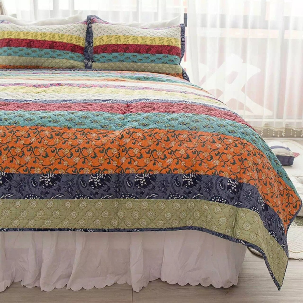 Bed sheet set with quilt - Chausub Floral Quilt Set 3pcs Washed Cotton Quilts Patchwork Bed Sheets Bedspread Bed Cover Pillowcase Coverlet