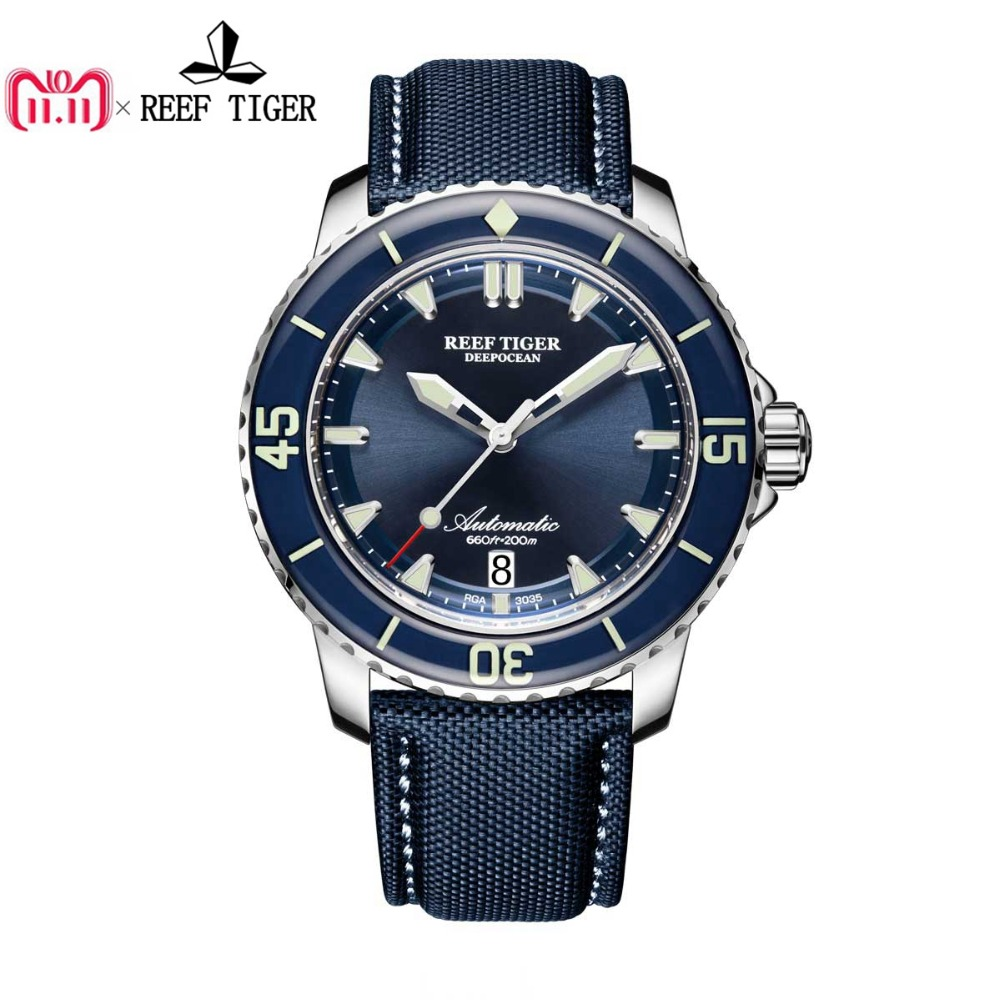 Reef Tiger/RT Super Luminous Dive Watches Mens Blue Dial Analog Automatic Watches Nylon Strap RGA3035 reef tiger rt super luminous dive watches for men rose gold blue dial watches analog automatic watches rga3035