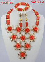 2019 Fashionable African Wedding Jewelry Set Coral Beads Jewelry Set Nigerian Beads Necklace Jewelry Set Free Shipping GD201 1