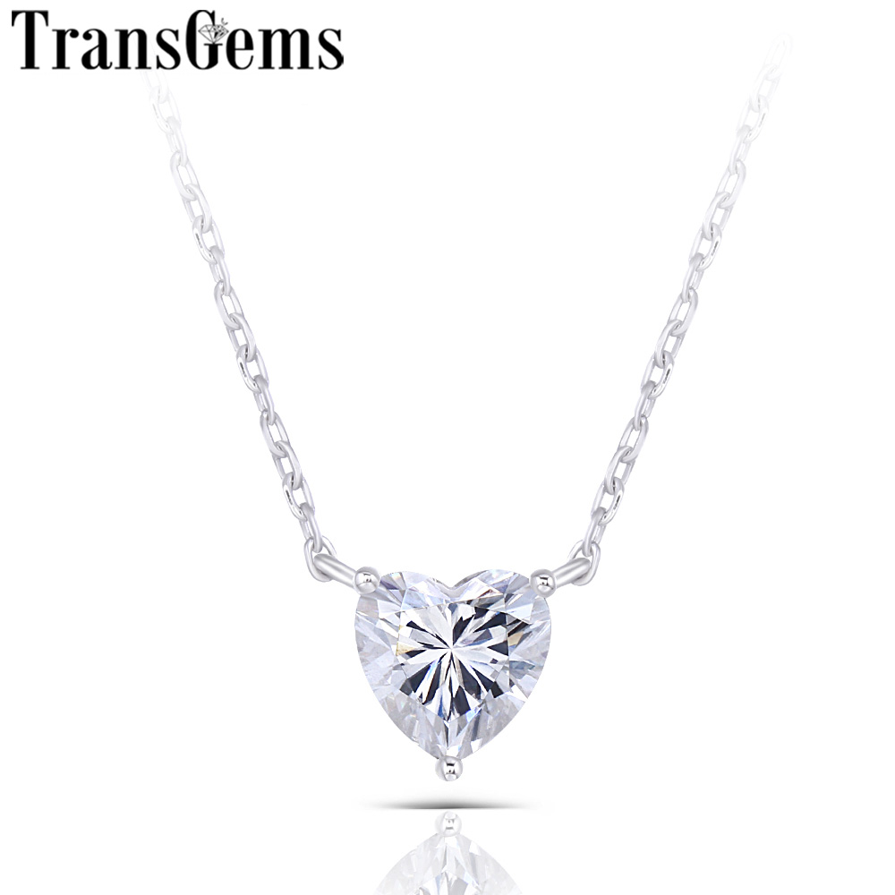 TransGems 14K White Gold 1ct 6.5mm F Color Heart Shape Moissanite Pendant Necklace For Women Anniversary Gifts Daily Wear Gifts