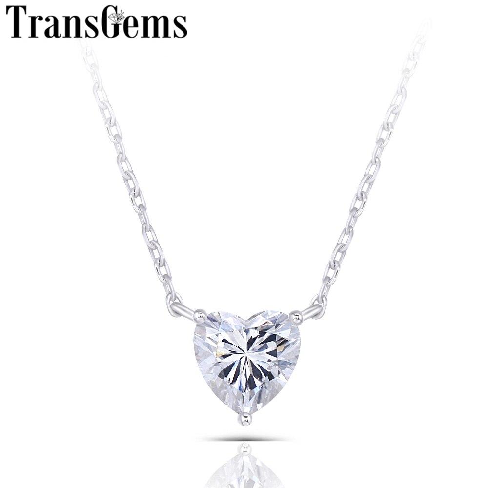 Transgemmes 14K or blanc 1ct 6.5mm F couleur coeur forme Moissanite pendentif collier pour femmes cadeaux d'anniversaire quotidien porter des cadeaux-in Pendentifs from Bijoux et Accessoires    1
