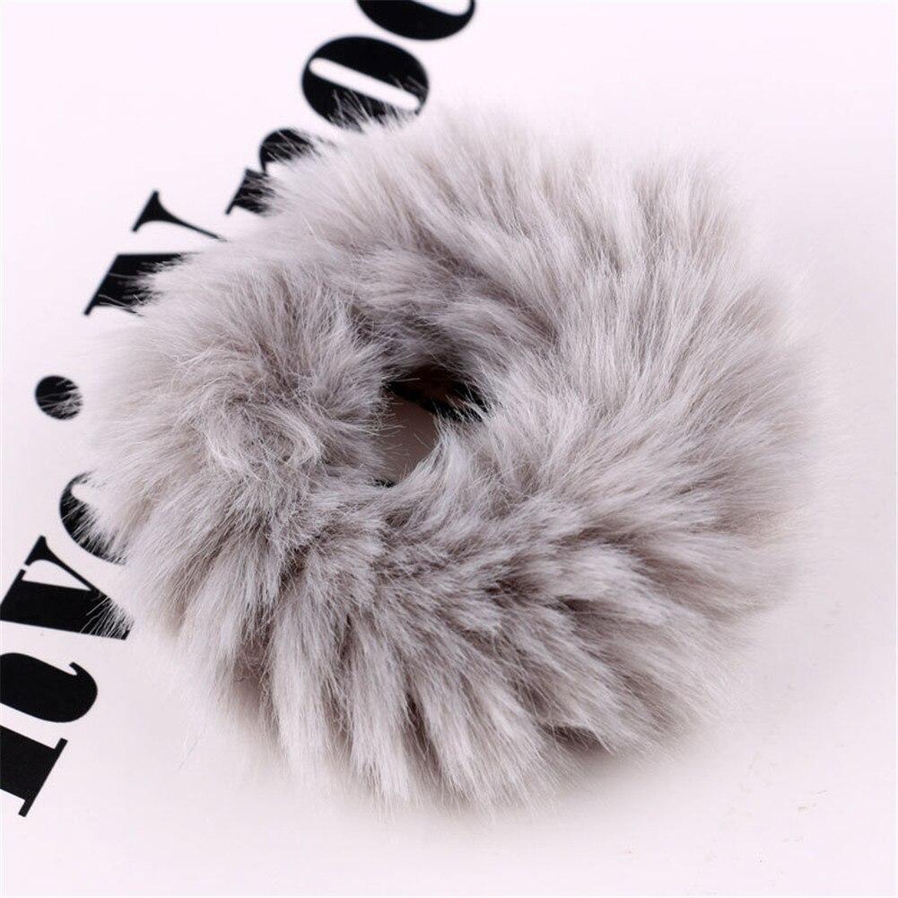 Милые эластичные резинки для волос для девочек, искусственный мех, резиновое эластичное кольцо, веревка, пушистый галстук, аксессуары для волос, меховые резинки, повязка на голову - Цвет: 3