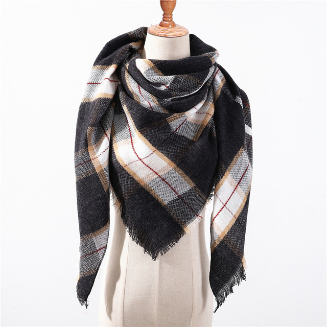 2018 new brand women scarf fashion plaid soft cashmere scarves shawl lady wraps designer Triangle warm Wholesale knitted bandana 3