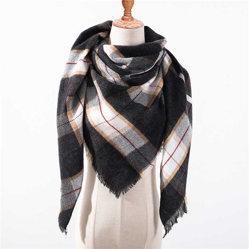 7ed5483f31bac ... 2018 new brand women scarf fashion plaid soft cashmere scarves shawl  lady wraps designer Triangle warm ...