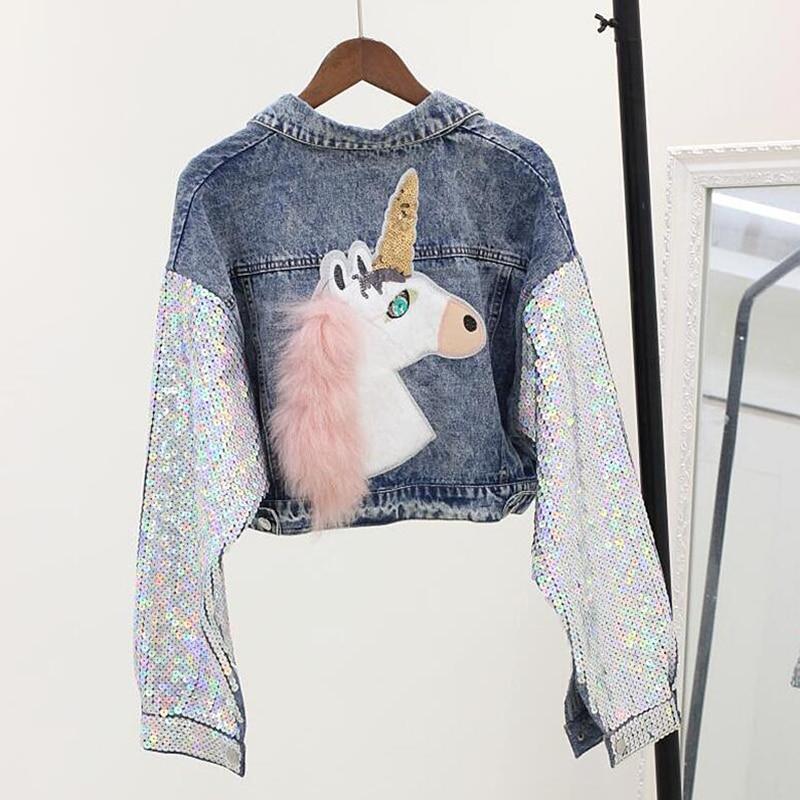 Courtes boy Manches Femelle Femmes Printemps Cow Outwear Blue 2019new Mode Denim Marque Veste Manteau Tendance De Femme Paillettes 4Pq5w67CC