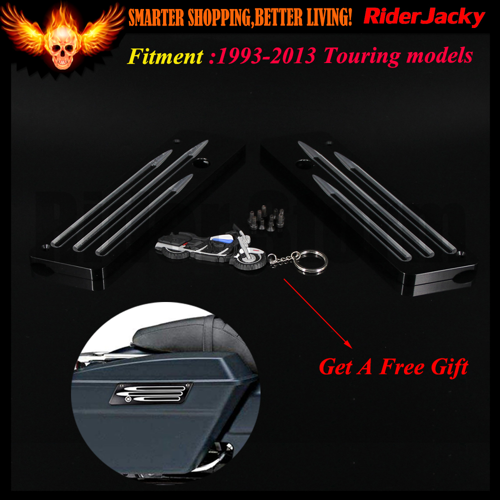 Black Aluminum CNC Hard Motorcycle Saddlebag Latch Cover For Harley 1993-2013 2006 2007 2008 2009 2010 2011 2012 Touring FLHT car rear trunk security shield shade cargo cover for nissan qashqai 2008 2009 2010 2011 2012 2013 black beige