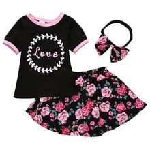 Цветочный ребенка для маленьких девочек летняя одежда платье с сердечками Топы корректирующие футболка юбка с цветочным рисунком 3 шт. комплект