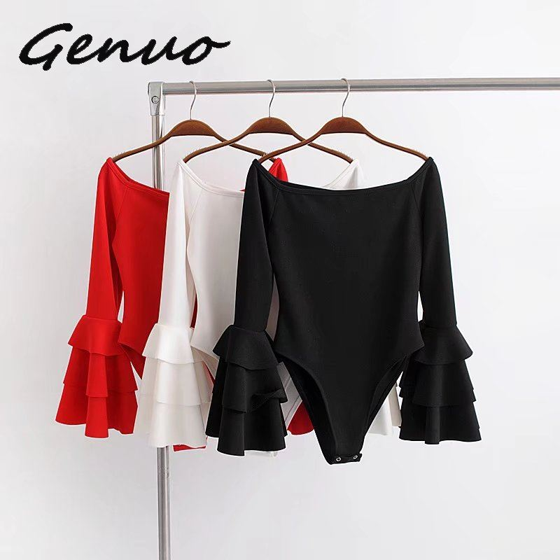 Genuo New Off Shoulder Jumpsuits Women Flare Sleeve Bodysuits Playsuit Female Body Suit Overalls Combinaison Femme