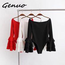 Genuo New Off Shoulder Jumpsuits Women Flare Sleeve Bodysuits Playsuit Female Body Suit Overalls Combinaison Femme