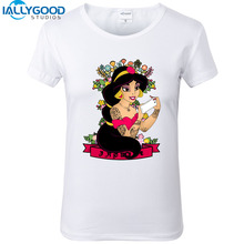 New Alice's Adventures in Wonderland Dark Princess T-Shirts Women Punk Tattooed Print White T shirts Slim Women Tops S1029
