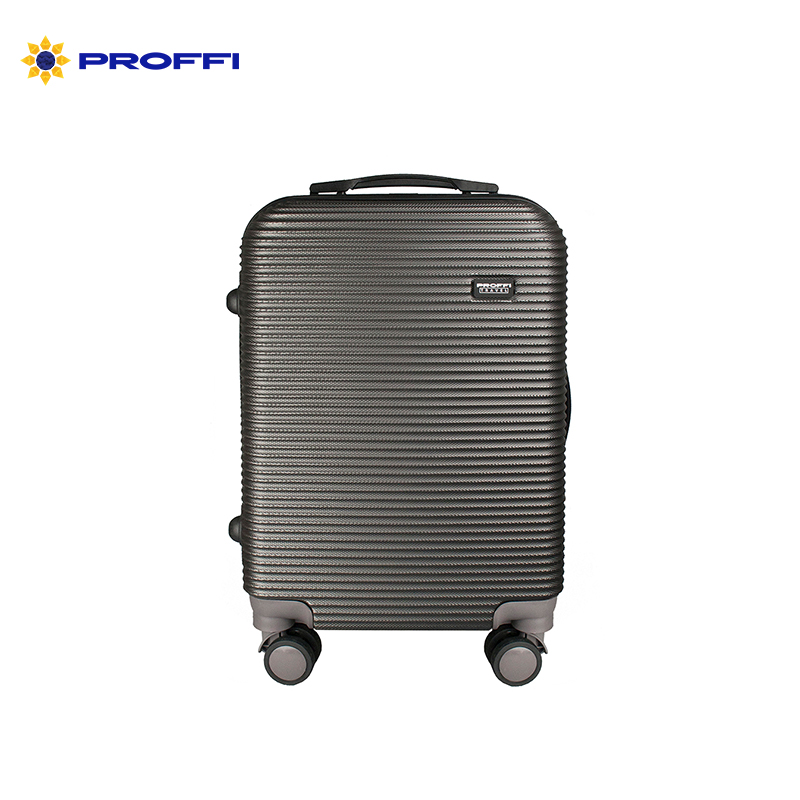 Fashionable grey suitcase PROFFI TRAVEL PH8858grey, S, plastic, with combination lock bright blue proffi travel ph8367violet s plastic suitcase with 4 wheels with combination lock