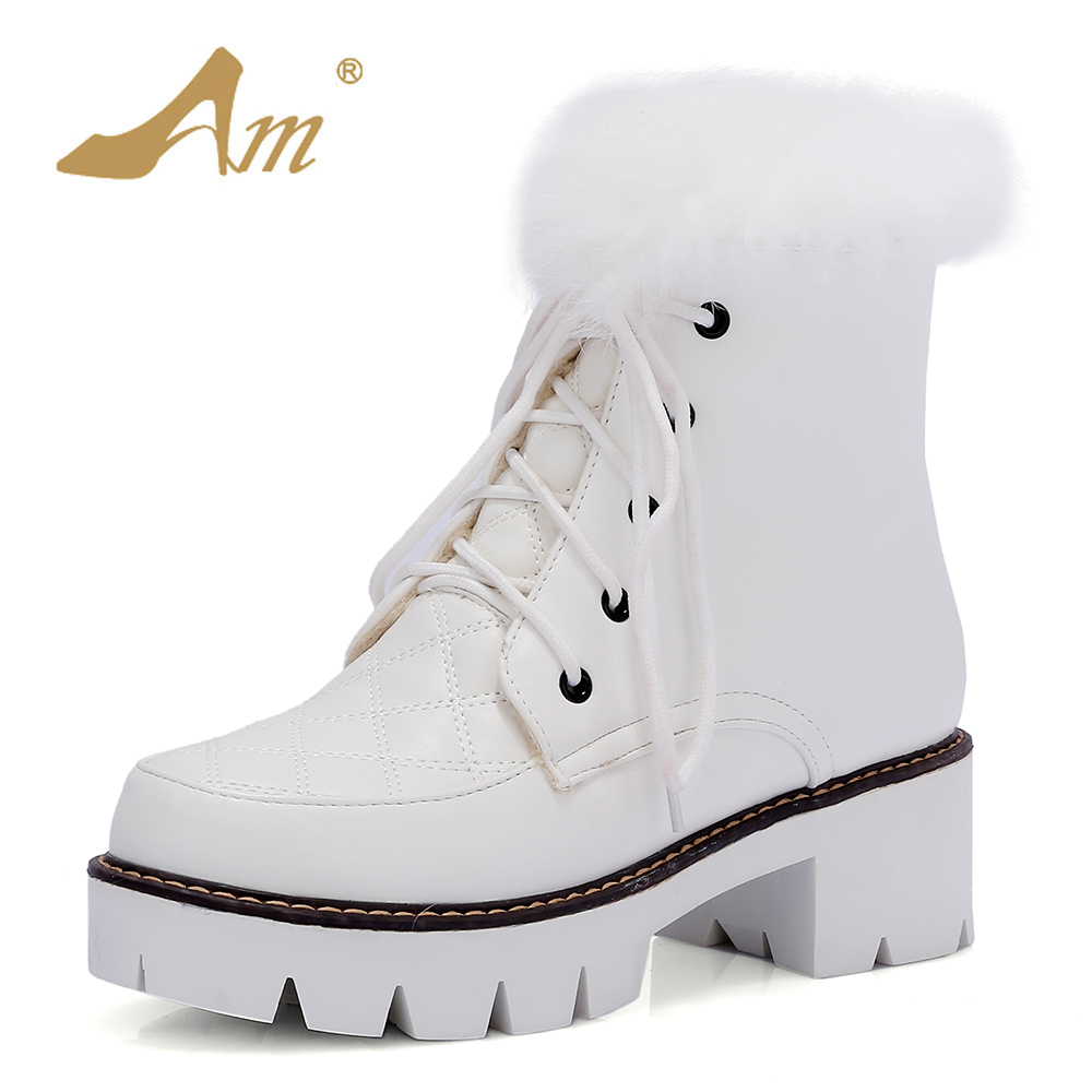 AME Super High Snow Boots Women Winter Short Plush Ankle Boots Woman Round Toe Warm Winter Shoes Plus Size 34-43 warm women winter boots women ankle snow boots cowhide sweet flowers round the end of short barrels bread shoes mianxie
