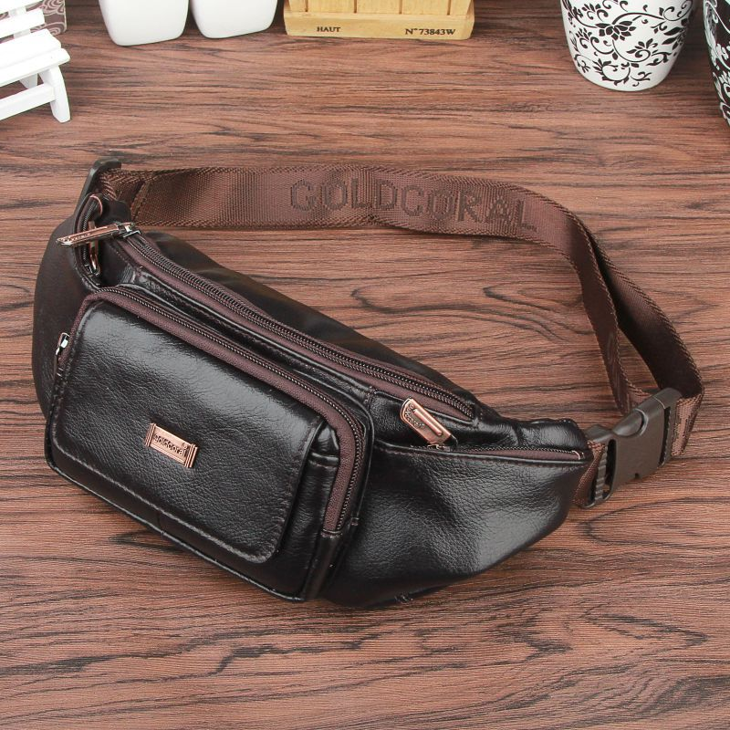 2107 new style Fashion Genuine Leather Waist Bag Men Casual Travel Belt Bags Wallets Black Leather Shoulder Bags #221-L lanspace men s leather shoulder bag real leather waist bag fashion leather travel bag