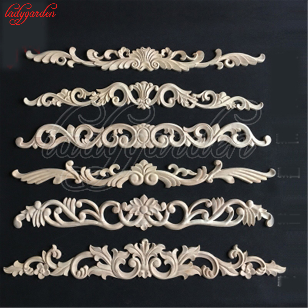 Decorative Woodcarving Decal for Furniture Home Decoration Long Carved Applique Window Door Decor Wooden Figurines Crafts-in Figurines & Miniatures from Home & Garden