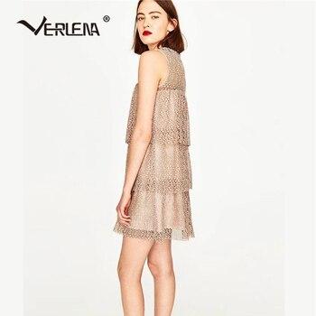 Verlena 2018 Semi-Transparent Summer Dress Lined Straight Dress Women Ruffle Vestidos Crochet Lace Sleeveless Sweet Pink Dresses semi formal summer dresses