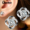 QIAOCHAO 925 Sterling Sliver Prata Fashion Jewelry 8MM Spin Flower Round 2 Carat Cubic Zirconia Silver Stud Earrings E367