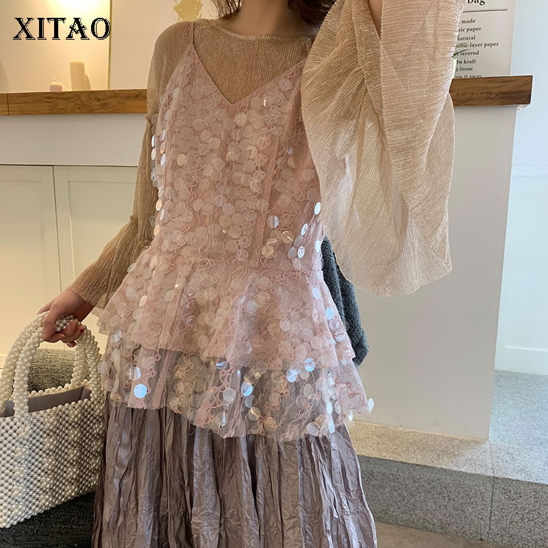 [XITAO] Women Korea Fashion 2019 Spring Sexy Camisole Sleeveless Loose Top Female Solid Color Sequined Casual Tank LYH3038