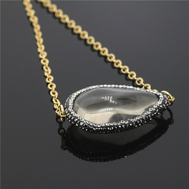 1 UNIDS Alta calidad colgantes 24 K Chapado En oro circón incrustación de Piedra Natural gris Ágata collares mujer de Agua envío de la gota