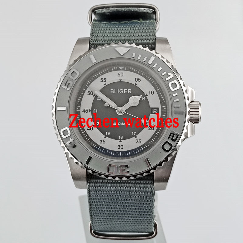 цена на 40mm Bliger Black/White Dial Sapphire Glass Automatic Men's Casual Wrist Watches Nylon strap